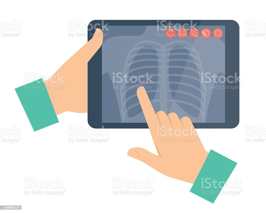 Doctor holding a tablet computer with lung radiography. Telemedi vector art illustration