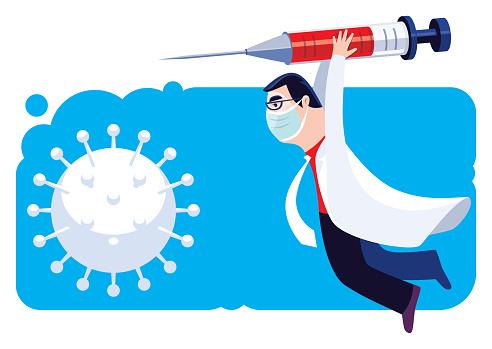 doctor holding big syringe and hitting virus