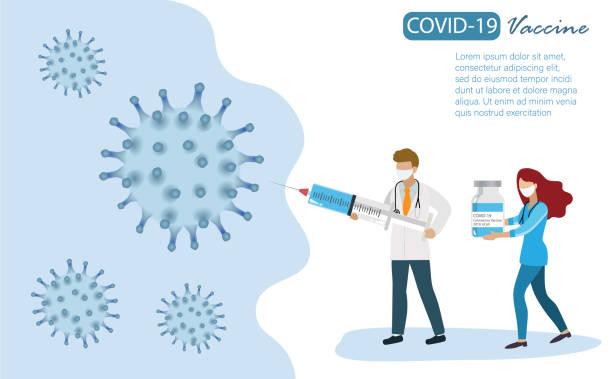 lekarz trzymający strzykawkę wypełnioną szczepionką covid-19, walczącą z koronawirusem covid-19. szczepienia, opieka zdrowotna i koncepcja medyczna. - covid vaccine stock illustrations