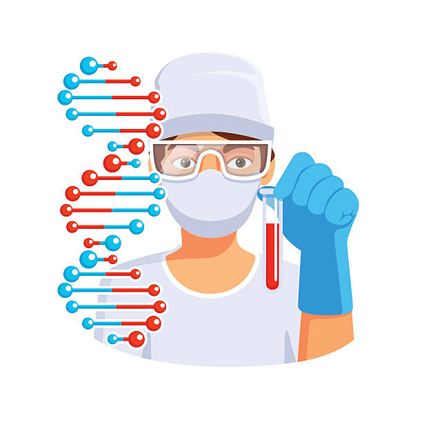 doctor holding test tube with blood dna in hand - google stock illustrations