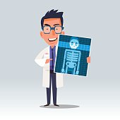 doctor holding x-ray or roentgen image. character healthcare concept - vector illustration