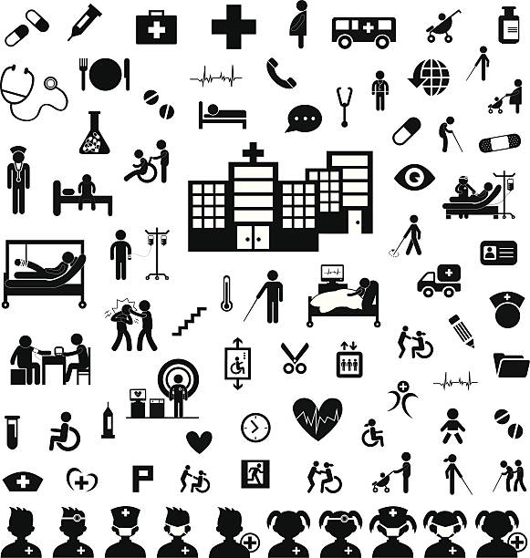 Doctor icon and hospital vector art illustration