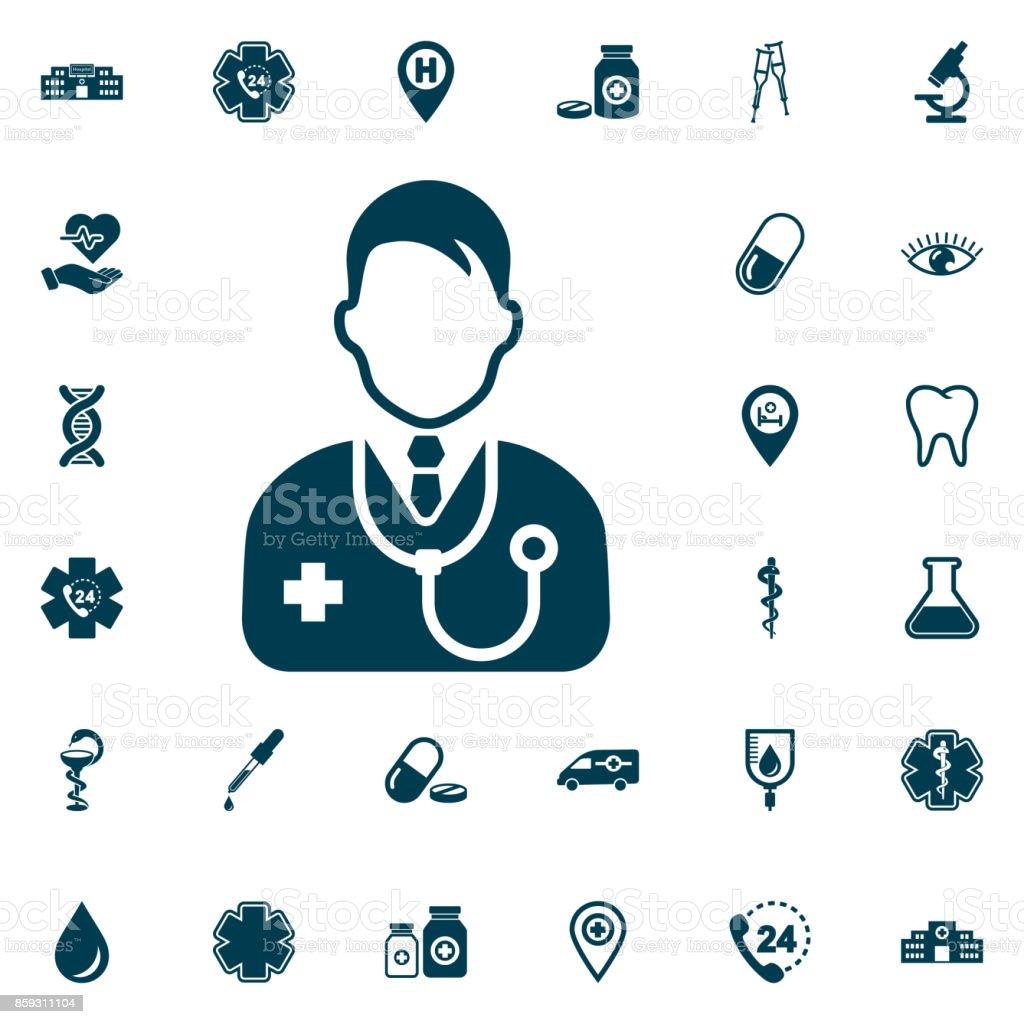 Docteur icône, medical sur fond blanc. Illustration vectorielle de soins de santé - Illustration vectorielle
