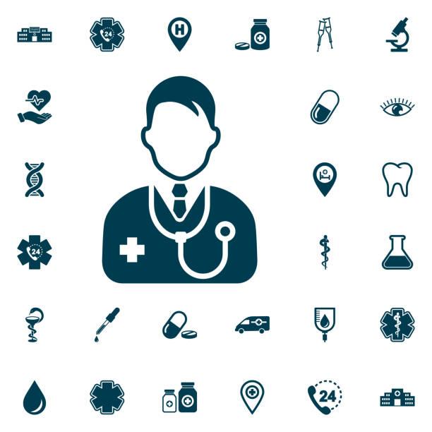 bildbanksillustrationer, clip art samt tecknat material och ikoner med läkare ikonuppsättning, medicinsk på vit bakgrund. hälso-och sjukvård vektor illustration - allmänläkare