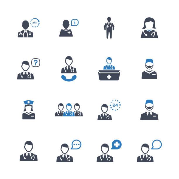 illustrazioni stock, clip art, cartoni animati e icone di tendenza di doctor icon set 2 - blue version - dottoressa