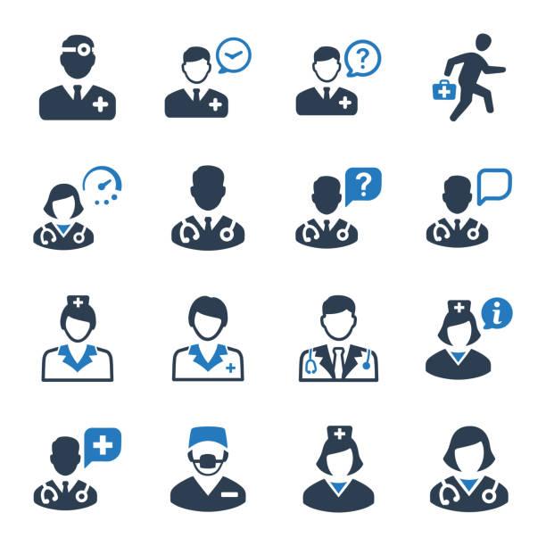 의사가 아이콘 세트-블루 버전 - doctor stock illustrations