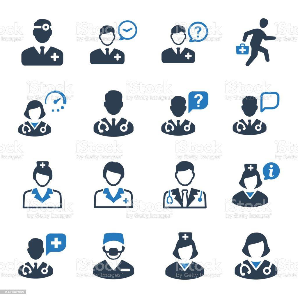 Doctor Icon Set - Blue Version vector art illustration