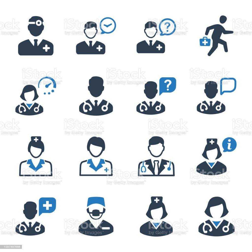 Médico conjunto de iconos - versión azul - ilustración de arte vectorial