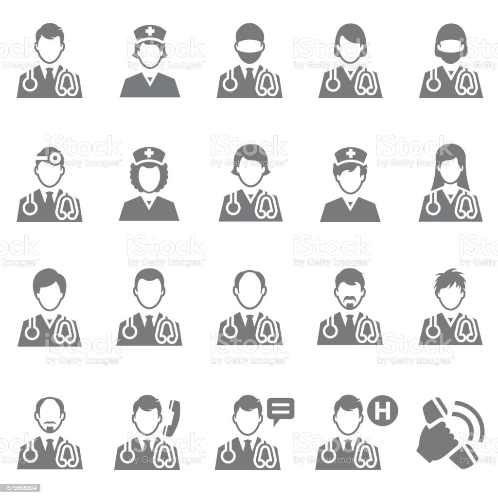 Doctor icon set royalty-free doctor icon set stock vector art & more images of asking