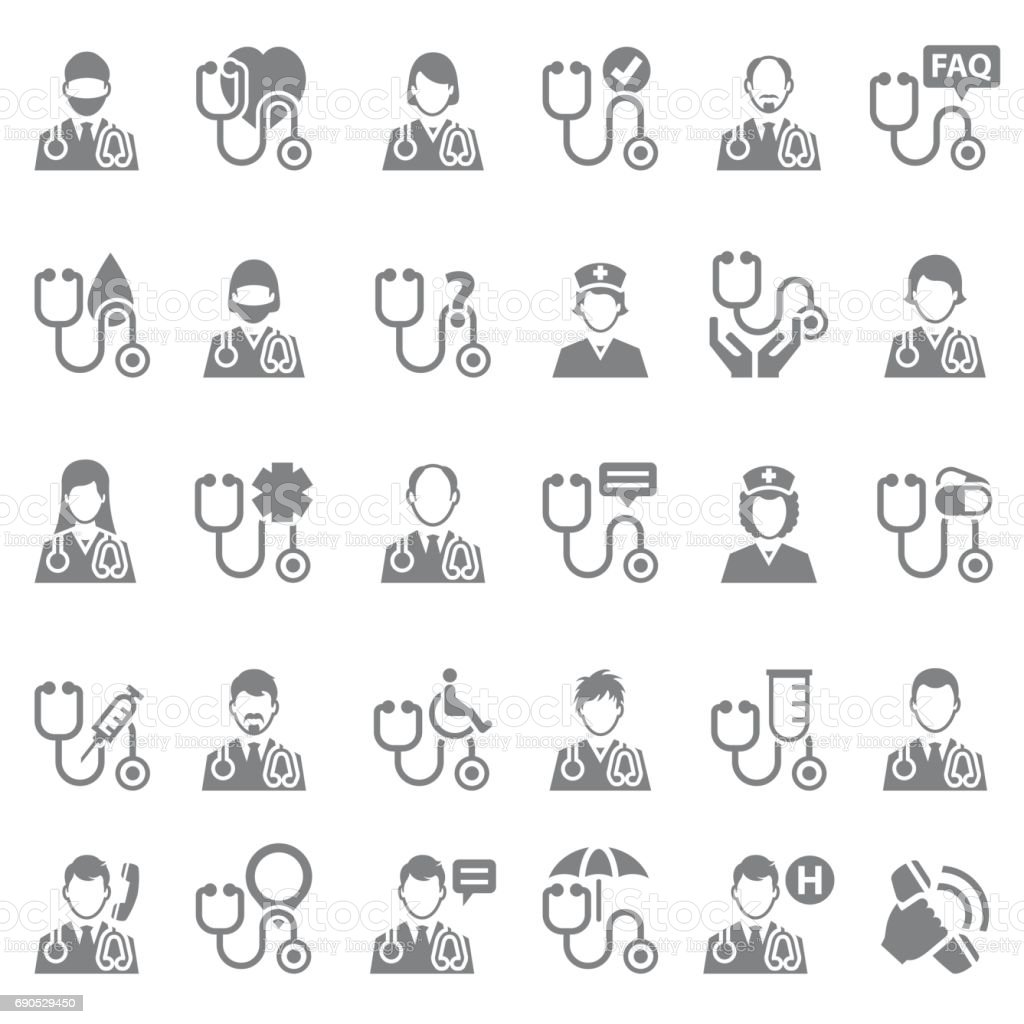 Doctor icon set vector art illustration
