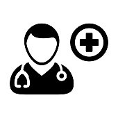 Doctor Icon Vector Physician Person Avatar With Stethoscope and Cross Symbol Glyph Pictogram illustration