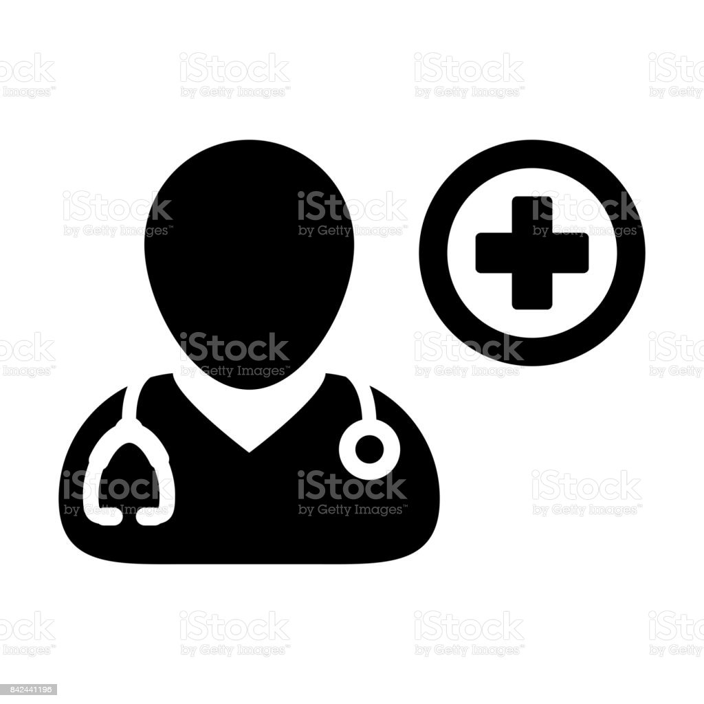 Doctor Icon Vector Flaticon With Cross Symbol Pictogram Stock Vector