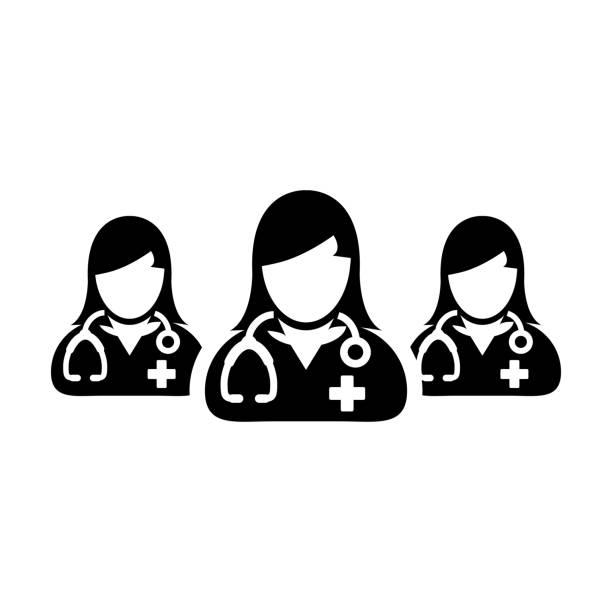 illustrations, cliparts, dessins animés et icônes de groupe de vecteur d'icône de docteur de l'avatar de profil de personne de femme de médecins pour la consultation médicale et de santé dans un pictogram de glyph - aide soignant