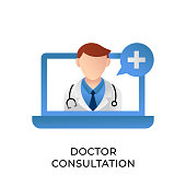 Doctor icon vector illustration. Doctor Consultation icon vector. Doctor icon design isolated on white background. Doctor vector icon flat design for website, logo, sign, symbol, app, UI.