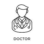 Doctor icon vector illustration. Medical Doctor vector illustration template. Doctor icon design isolated on white background. Doctor vector icon flat design for website, logo, sign, symbol, app, UI.