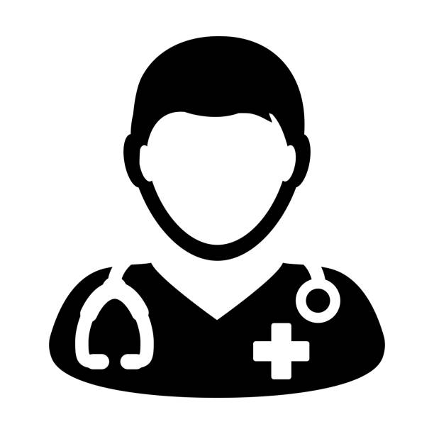 doctor icon vector medical consultation male physician person avatar with stethoscope and cross symbol glyph pictogram - doctors office stock illustrations, clip art, cartoons, & icons