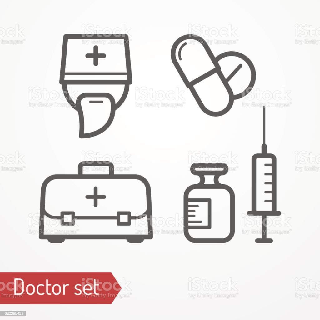 Doctor icon vector set royalty-free doctor icon vector set stock vector art & more images of ambulance