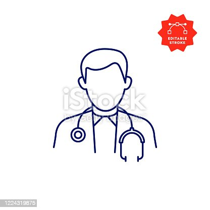istock Doctor Icon with Editable Stroke and Pixel Perfect. 1224319875