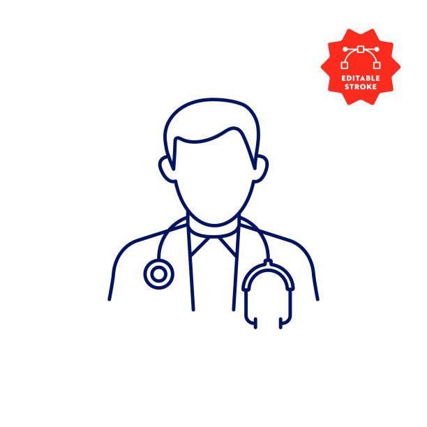 편집 가능한 스트로크와 픽셀 완벽한 의사 아이콘. - doctor stock illustrations