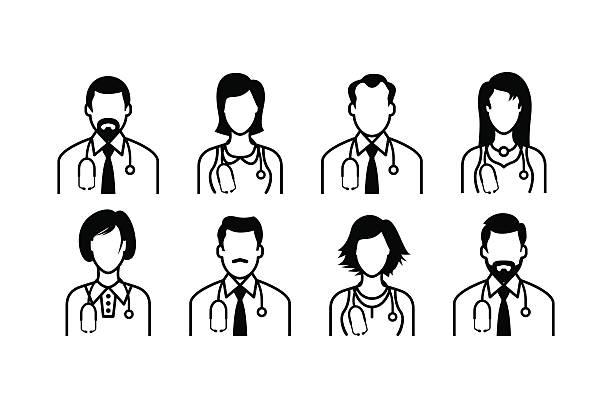 illustrazioni stock, clip art, cartoni animati e icone di tendenza di icone medico - dottoressa