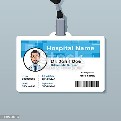 doctor id badge medical identity card template stock vector art