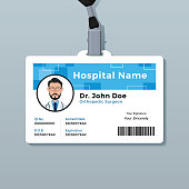 blue graphic employee id card template stock vector art more