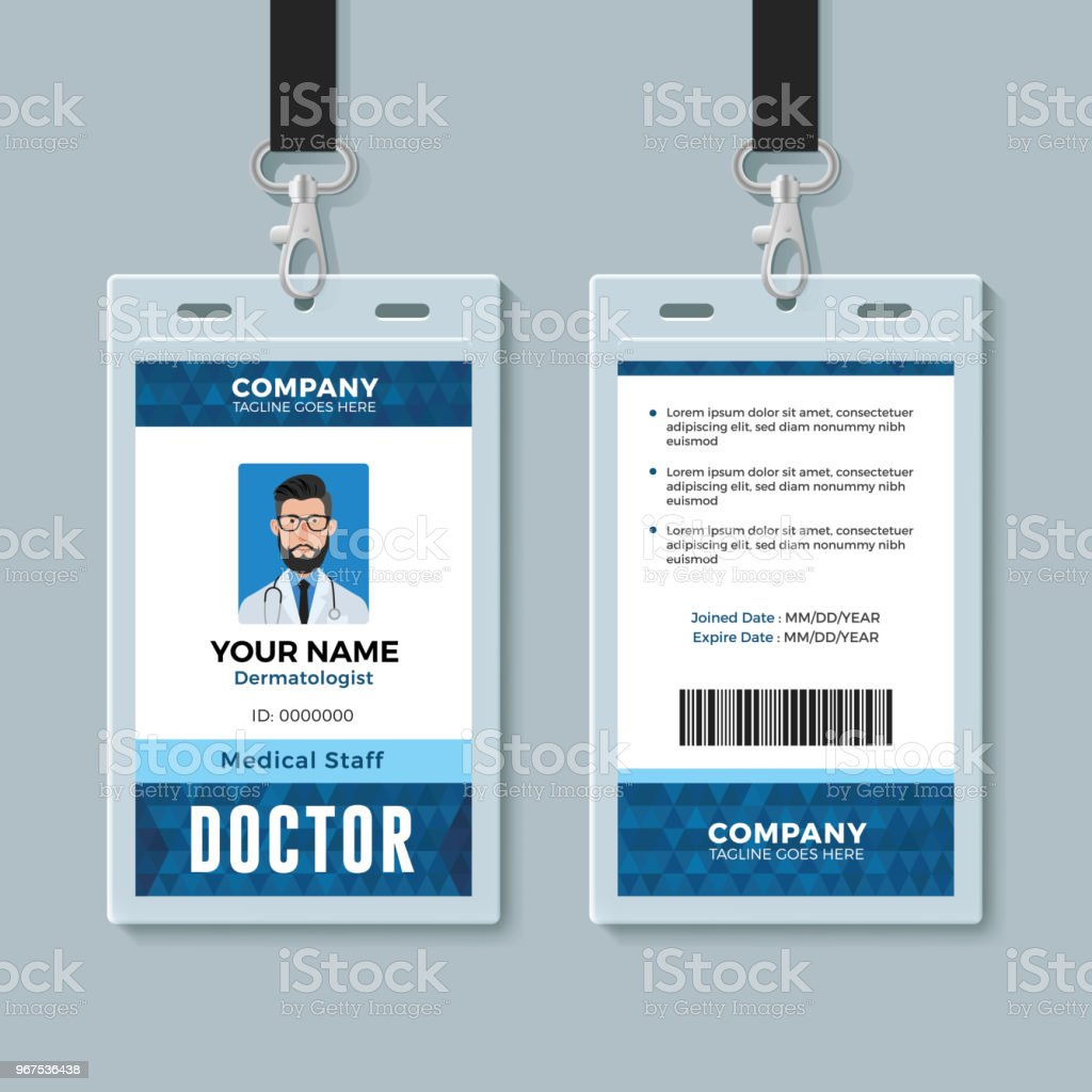 doctor id card medical identity badge design template stock vector