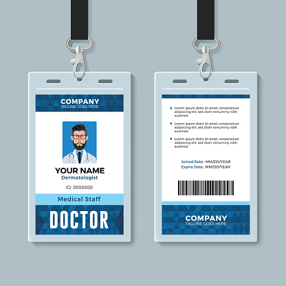 Doctor ID card. Medical identity badge design template