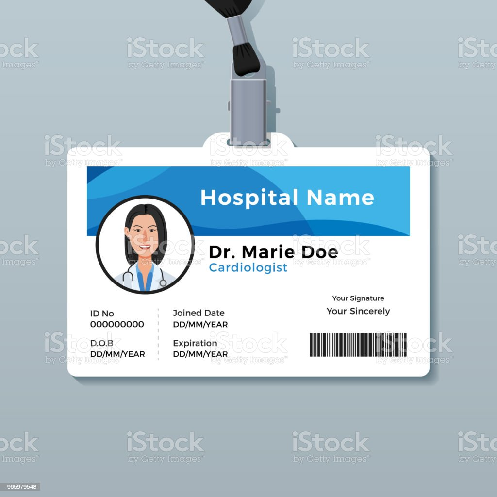 Doctor ID Card Medical Identity Badge Template Royalty Free Id