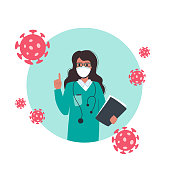 A doctor in a medical mask warns of the dangers of coronavirus. Virologist woman raised her index finger up, holding a folder with analyzes in her hands. Bacteria are around her. Vector on a white