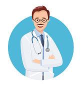 Doctor in blue circle on white background.