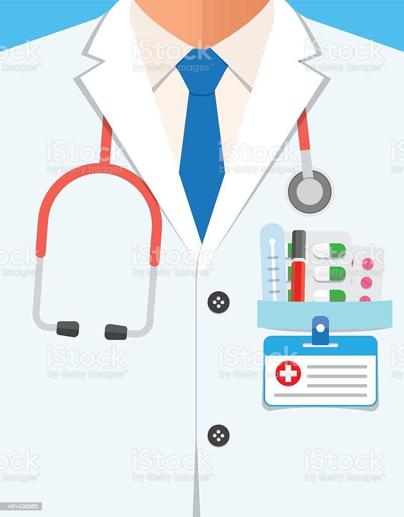 Bata de laboratorio médico en primer plano - ilustración de arte vectorial