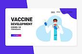doctor in medical mask holding syringe and bottle vial coronavirus vaccine development fight against covid-19 concept horizontal portrait vector illustration