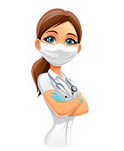 Illustration of a Doctor in mask on white background