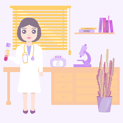 Doctor in the medical science laboratory cartoon poster