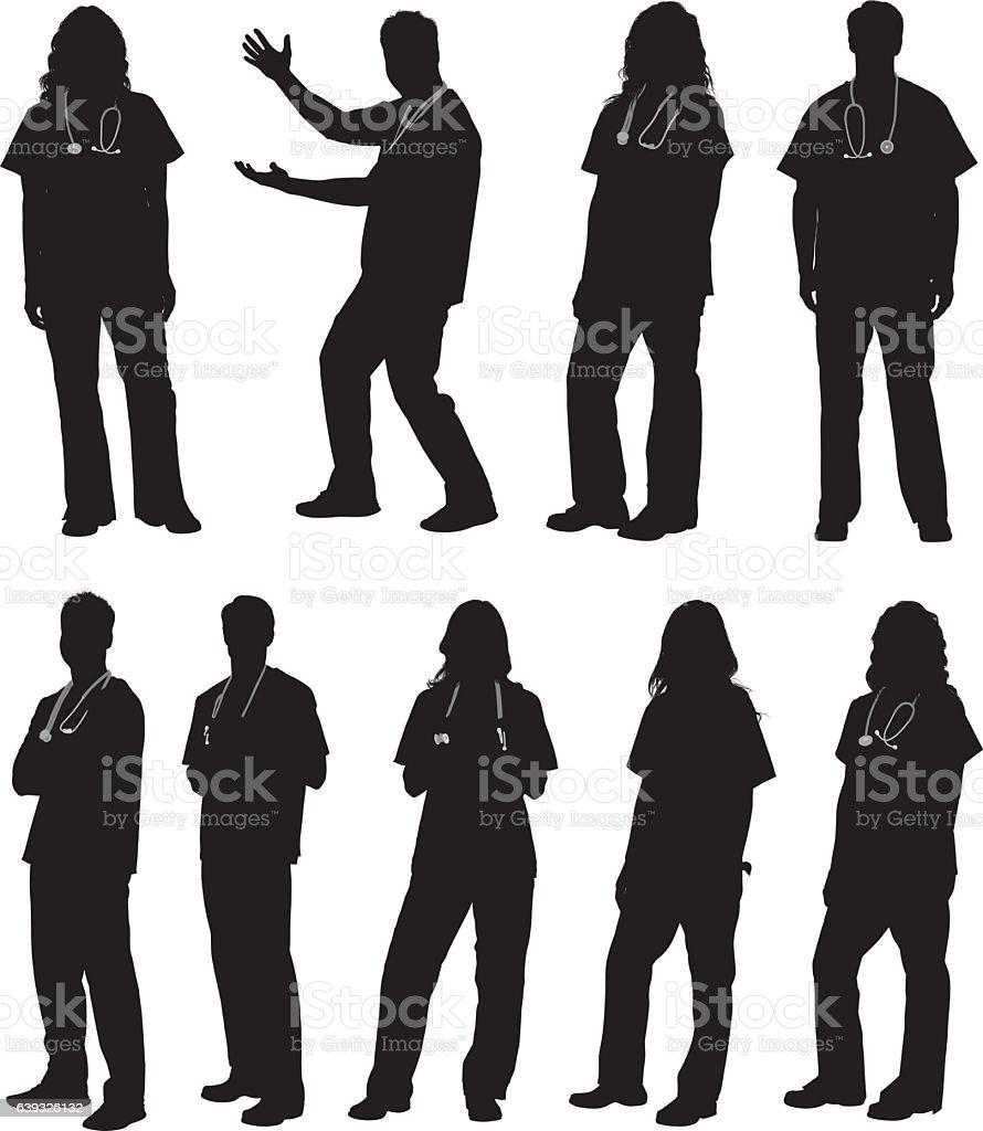 Médico en diversas acciones - ilustración de arte vectorial