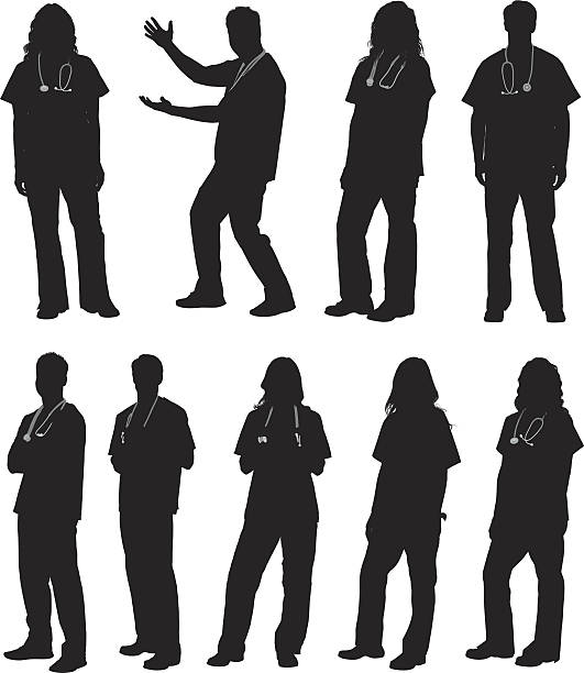 doctor in various actions - physician stock illustrations, clip art, cartoons, & icons