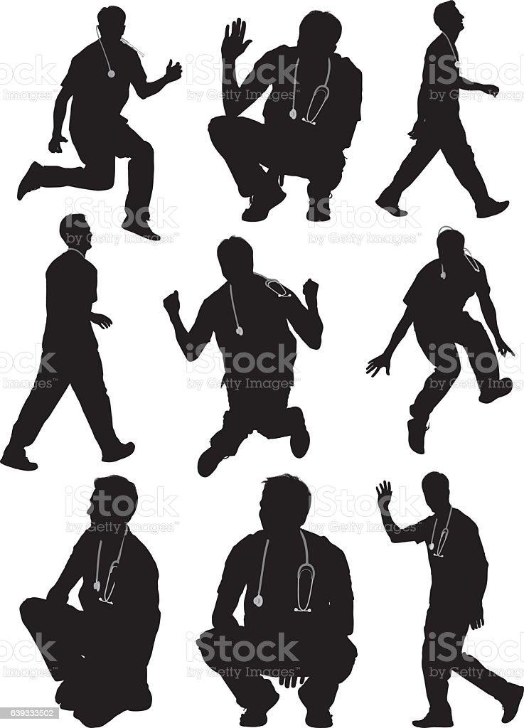 Médecin dans diverses actions - clipart vectoriel de Acclamation de joie libre de droits