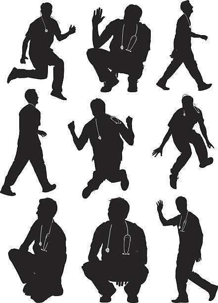 Doctor in various actions Doctor in various actions male nurse stock illustrations