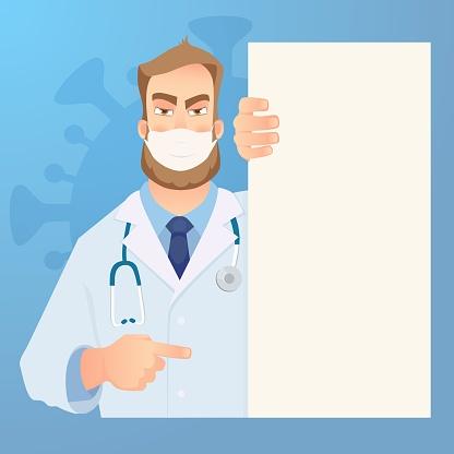 Doctor in white medical face mask. Doctor holding blank signboard. Concept of coronavirus quarantine vector illustration
