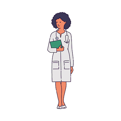 Doctor in white medical robe woman character sketch vector illustration isolated.