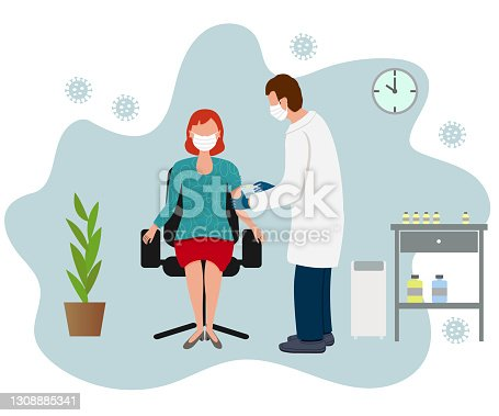 istock Doctor injecting vaccine shot to patient 1308885341