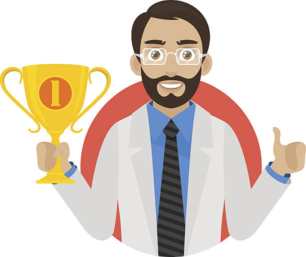doctor keeps cup in circle - old man showing thumbs up cartoons stock illustrations, clip art, cartoons, & icons