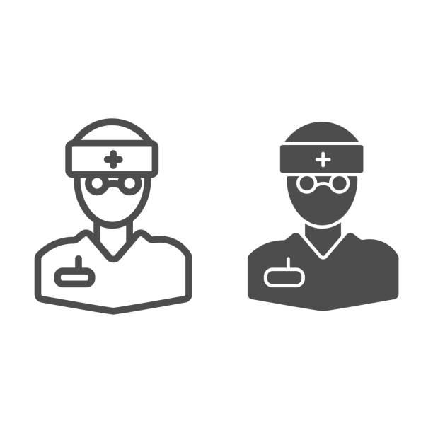bildbanksillustrationer, clip art samt tecknat material och ikoner med doktor linje och glyph ikon. medicinsk person, kirurg eller apotekspersonal i glasögon symbol, kontur stil piktogram på vit bakgrund. medicinskylt för mobilt koncept och webbdesign. vektorgrafik. - endast en man