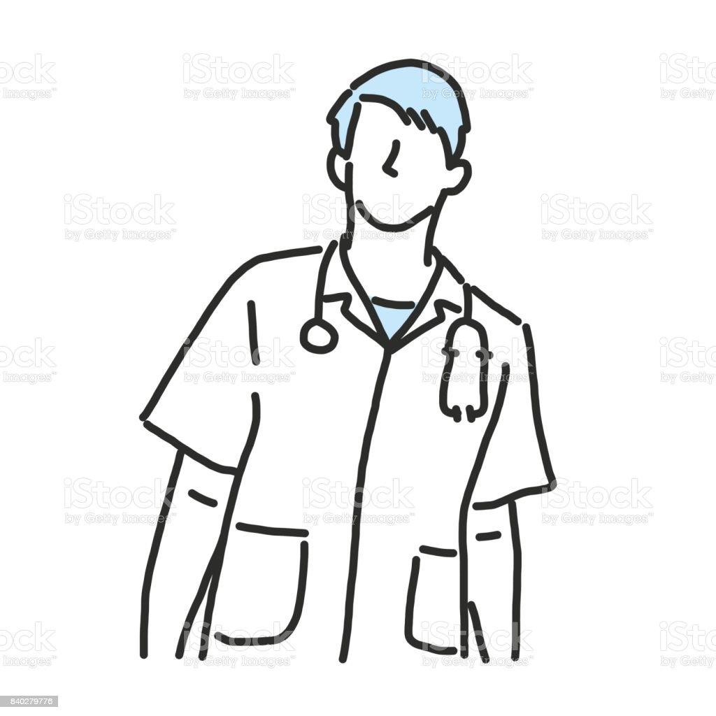 Line Drawing Of A Doctor : Médico dibujo de línea y dibujado a mano ilustración