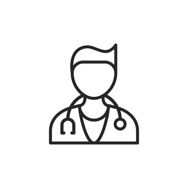 bildbanksillustrationer, clip art samt tecknat material och ikoner med läkarens linje ikon. pixel perfekt. för mobil och webb. redigerbar stroke. - allmänläkare