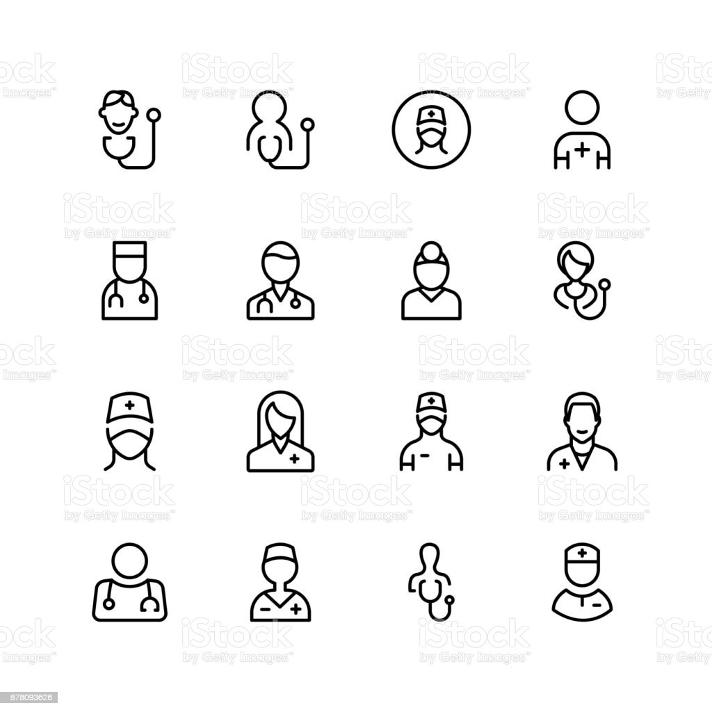 Doctor line icon vector art illustration