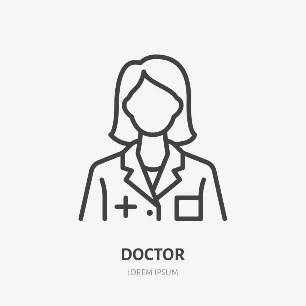 의사 라인 아이콘, 청진기를 가진 여자 의사의 벡터 픽토그램. 레이디 병원 근로자 일러스트, 간호사 사인 용 의료 포스터 - doctor stock illustrations
