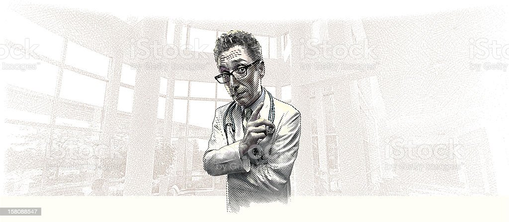 Doctor Listening and Gesturing vector art illustration