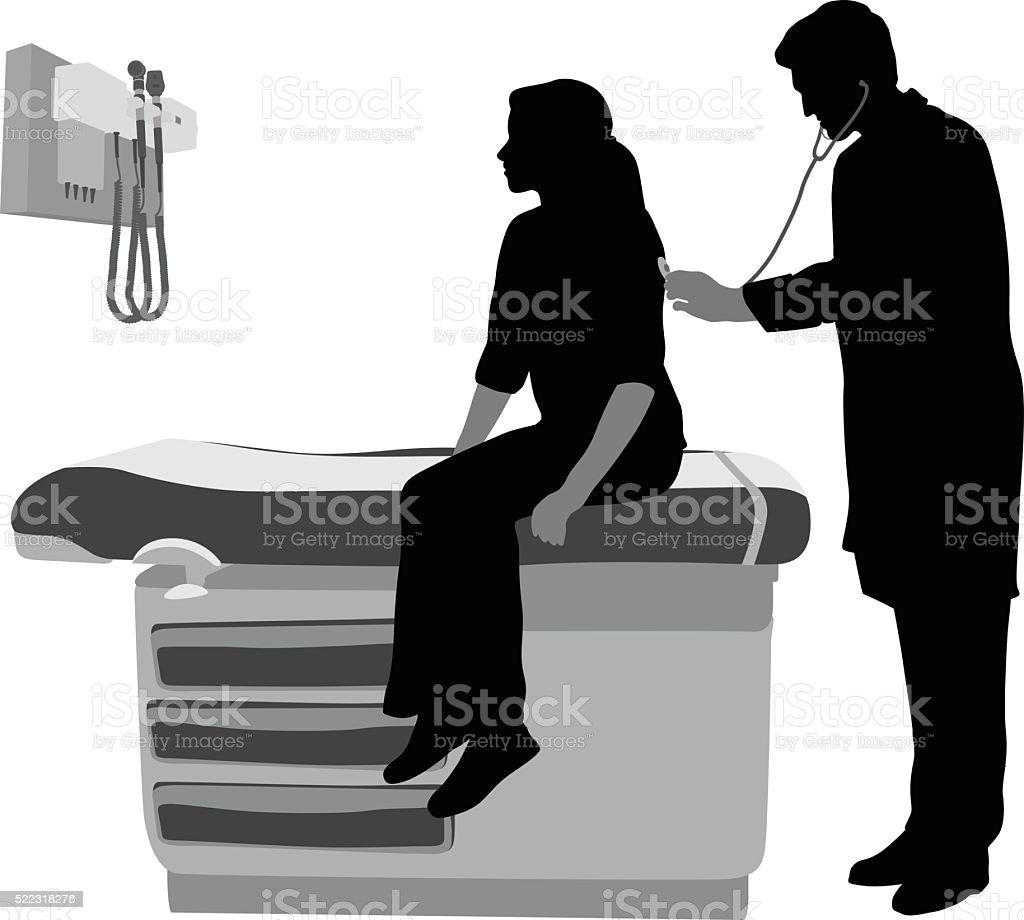 Doctor Listening To Patient Breathing vector art illustration